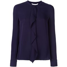 Diane Von Furstenberg ruffle front blouse ($335) ❤ liked on Polyvore featuring tops, blouses, purple, ruffle front blouse, ruffle top, silk blouse, purple blouse and frilly blouse