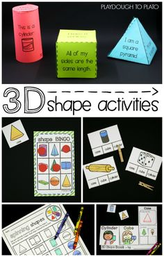 Fun Shape Activities for Kids! Build the shapes, play Bingo, make interactive books, play spin and color game. Tons of fun ideas for kindergarten, first grade and second grade math! 3d Shapes Activities, Geometry Activities, Teaching Shapes, Kindergarten Activities, Teaching Math, 3d Shapes Kindergarten, Preschool, Teaching Geometry, Numbers Kindergarten