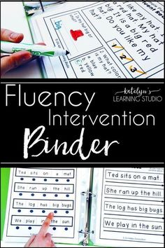 Reading Fluency – How to Teach it Reading Fluency – How to Teach it,Reading Tips, Tricks and Ideas Fun early elementary fluency intervention binder with activities and drills for kindergarten, first or second grade. Reading Intervention Activities, Guided Reading Lessons, Reading Tutoring, Reading Assessment, Beginning Reading, First Grade Reading, Kindergarten Reading, Teaching Reading, Reading Strategies