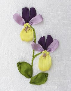 silk ribbon embroidery violets