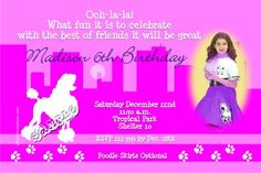 Poodle in Paris Birthday Invitations  -  Get these invitations RIGHT NOW. Design yourself online, download and print IMMEDIATELY! Or choose my printing services. No software download is required. Free to try!