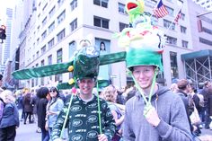 Dudes wearing Easter Hats and in their pjs on 5th Ave Easter Sundey