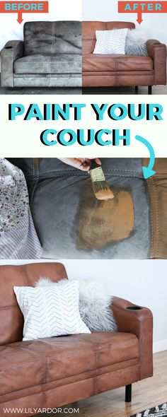 Here's how you can paint your microfiber couch! Secret paint recipe to keep paint soft. This SECRET FABRIC PAINT RECIPE won't be CRUSTY on your fabric! Here's how I painted my couch to look like real leather! YES it's super soft and durable! Diy Couch, Diy Furniture Couch, Diy Furniture Projects, Leather Furniture, Repurposed Furniture, Street Furniture, Rustic Furniture, Couch Redo, Trendy Furniture