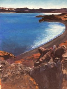 Kleifarvatn.  One of the most beautiful lakes in the world.  Iceland.  Pastel drawing by Susan Singer. 2016 www.susansinger.com.  All rights reserved. Iceland In May, Iceland Pictures, Pastel Drawing, Lakes, Most Beautiful, Singer, World, Drawings, Creative