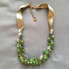 c.A.K.e. by Ali Khan Glass Bead Ribbon Necklace Green and gold statement necklace by c.A.K.e. by Ali Khan. Sage green ribbon, gold hardware. Like new. Gorgeous necklace! c.A.K.e. by Ali Khan Jewelry Necklaces