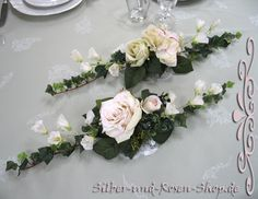 Blumengesteck creme rosa 2er Set Taufe Hochzeit