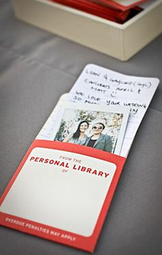 """Creative guest book idea. Each guest/family takes a polaroid picture of themselves..signs a note on a library """"check out card"""" and slip both into the pocket.  #livre d'or #mariage #guest book #guest book idea #wedding"""