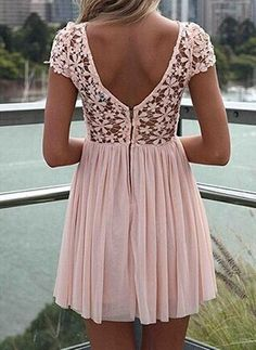 $12.19 Floral Crochet Design Short Sleeve Round Collar Backless Hollow Out Dress For Women