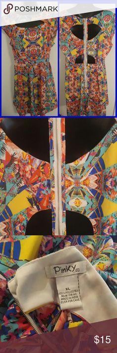 Vibrant Colorful Empire Style Dress Vibrant Colorful Empire Style Dress Cutout front and back Pinky Dresses