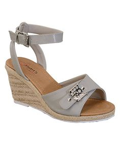 Love this Gray Buckle Julia Wedge Sandal on #zulily! #zulilyfinds