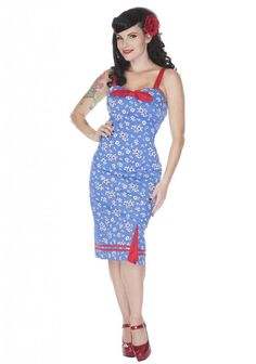 Women's Voodoo Vixen Vintage Daisy Pencil Dress Blue Retro Rockabilly Pin Up #VoodooVixen #dresses