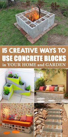 15 Creative Ways to Use Concrete Blocks in Your Home and Garden is part of Diy garden projects - With just some creativity and imagination, you can repurpose these smart blocks into practical furniture or decorative pieces for your home and garden Backyard Projects, Outdoor Projects, Outdoor Decor, Diy Projects, Diy Yard Decor, Backyard Games, Home Decor, Concrete Blocks, Concrete Projects