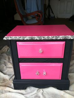Pink , glitter , black , and zebra print nightstand