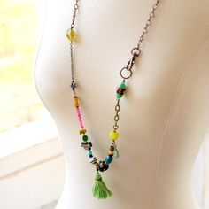 Long Beaded Statement Necklace Tassel Necklace Boho by ThreeTrees