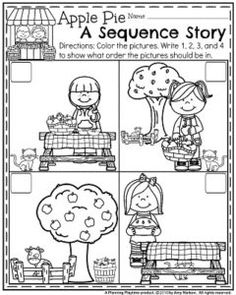 Fall Preschool Worksheets - Apple Pie Sequence Story.