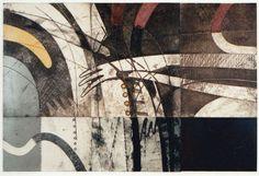 89-風の背骨-14 66x99.5cm  copperplate print (etching) with chine collé  林孝彦 HAYASHI Takahiko 1989