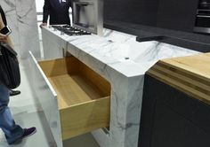 An Entire Kitchen Island Carved Out of Italian Marble from Marmo Arredo