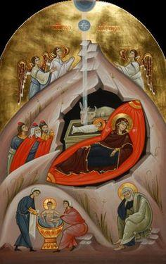 "XC__ "" η Γεννηση του Χριστου"" "" Nativity of Christ"" _dec ( Festival… Byzantine Icons, Byzantine Art, Russian Icons, Russian Art, Religious Icons, Religious Art, Madonna, Church Icon, Jesus Pictures"