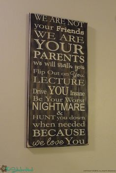 We Are Not Your Friends Parenting Quote Saying Distressed Wooden Sign #Kids
