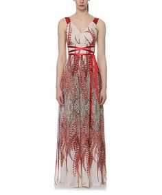 Look at this Elfe Red Abstract Floral Maxi Dress on #zulily today!
