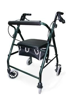 Four Wheel Rolling Walker Rollator - Green by Invacare. $68.99. Storage Bag is easily remove. Weight Capacity: 300 lbs. Frame is constructed of a sturdy aluminum. Handle height is adjustable with locking loop brakes. Very light 16 lb, four wheel rolling walker. Most economical rollators is also simple to use. Features flip-up, foam padded seat with removable pouch beneath for easy transport of personal items. A straight back rest supports user in seated positio...