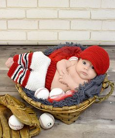 Red & White Baseball Photo Prop Beanie & Pants - Infant @ 70% OFF