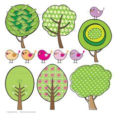 Tree and Birds Leaves Digital Clipart Clip Art Scrapbook Embellishments Downloadable Tweety Bird Animal Card Making 10055. $4.50, via Etsy.