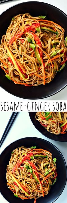 Soba Sesame-ginger soba is a quick and easy dish. Fresh, raw vegetables, nutty noodles and a creamy sweet, sour and savory sauce makes a delicious dish suitable for vegetarians and vegans.Sesame-ginger soba is a quick and easy dish. Vegan Vegetarian, Vegetarian Recipes, Healthy Recipes, Raw Diet Recipes, Vegan Food, Vegan Dishes, Tasty Dishes, Carb Cycling Diet, Whole Food Recipes