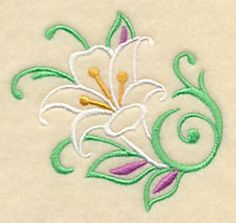 Lily Filigree design (M2462) from www.Emblibrary.com