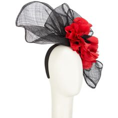 Snoxells Maria Large Flower Fascinator, Black/Red ($260) ❤ liked on Polyvore featuring accessories, hair accessories, red fascinator, red flower hair accessories, red headband, headband fascinator and bow headwrap