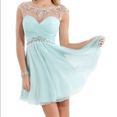 homecoming/ formal dress Very beautiful, never worn baby blue homecoming/ formal event dress. Beaded and has an open back Dresses Mini