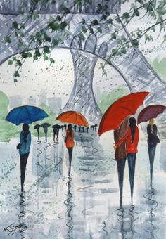 Original Signed Watercolour Painting ~ Rainy Day Paris ~ By KJ CARR
