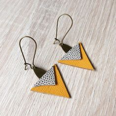 Yellow Leather Triangle Earrings