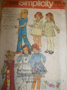 Vintage Simplicity 7198 Girls' Childs' pinafore by Bigwheel179, $2.00