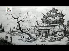 How To Draw Easy and Simple Village Scenery With Pencil Step by Step | Scenery Drawing - YouTube