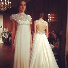 Embellished necklines at #JennyPackham #bridalmarket #weddingdress
