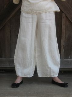 linen pant in ivory. $95.00, via Etsy. Like the hem finish