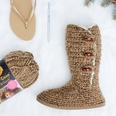 """Learn how to transform an inexpensive pair of flip flops into UGG-style sweater boots in this fun pattern and step-by-step tutorial.The Breckenridge crochet boots with flip flop soles are equally at home shuffling around your living room as they are strolling through the mall. Boots, slippers, shoes, heaven, whatever you want to call these, they are incredibly comfortable and you can wear them just about anywhere but a snow bank.This 12 pagePDF includes a printable """"ruler"""" to guid..."""