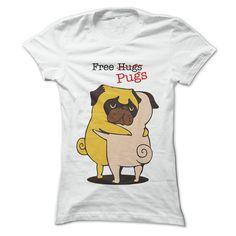 Free Pugs T-Shirts, Hoodies. CHECK PRICE ==► https://www.sunfrog.com/Pets/Free-Pugs-White-59115471-Ladies.html?id=41382
