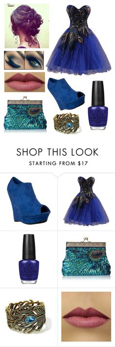 """""""Peacock Formal"""" by missolivetree ❤ liked on Polyvore featuring OPI and Heidi Daus"""