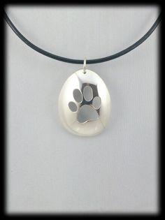 Paw silver spoon pendant