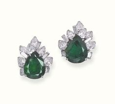 A PAIR OF EMERALD AND DIAMOND EAR CLIPS, BY STERLE  Each set with a pear-shaped emerald, weighing 6.92 and 8.99 carats, to the pear-shaped, circular and baguette-cut diamond detail, with French assay marks for platinum and gold Signed Sterlé, no. 1186