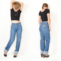 Vintage 1970s WRANGLER jeans / XS 26x34 / High by ItinerantVintage