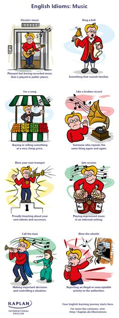 Kaplan's music idioms infographic will help you speak English like a native. Discover eight examples of how you can use music idioms in everyday conversation! English Tips, English Fun, English Idioms, English Study, English Class, English Words, English Lessons, English Grammar, Teaching English