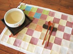 Full handmade placemats of ramie cloth. Woven from the bark of the ramie plant, ramie cloth is a Korean traditional cloth having its white hue  And  has been commonly used in summer.  Because ramie fabric is particularly light and airy and its texture coarse and loose.  Patchworks is usually made from the remnants after clothes, bedding, linen and more. http://www.hancookyshop.com/