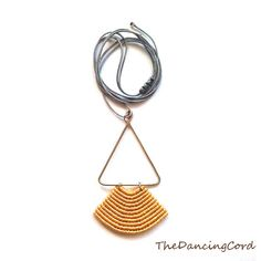 Macrame pendant with alpaca wire - Geometric - Sound of Dance - Minimalist - Custom Order - Gold and silver