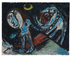 Asger Jorn (1914-1973) die de betekenis van de kindertekening al vroeg inzag, liet zijn zevenjarige zoon op een deur van het huis in Bregnerød schilderen. De expressie van zijn zoontje inspireerde hem in veel van zijn werken.-1949