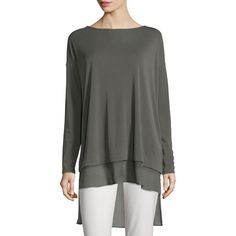 Eileen Fisher Long-Sleeve Layered Silk Tunic ($265) ❤ liked on Polyvore featuring tops, tunics, black, black silk tunic, petite tunics, petite tops, long sleeve black tunic und sweater pullover