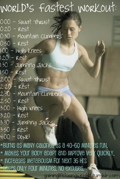 4 minute workout. Don't know about the calorie burn claim, but a quick, get-your-heart-pumping workout that you can squeeze into 4:00 is still pretty good!