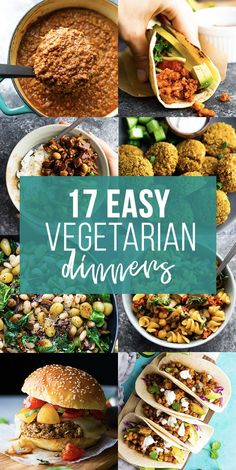 These delicious vegetarian dinners are simple to prepare, full of flavor, and will leave you feeling full and satisfied. With a variety of proteins including tofu, beans and eggs, there is something for everyone, whether you are vegetarian or 100% plant-based. #sweetpeasandsaffron #vegetarian #mealprep #freezer #roundup Easy Vegetarian Dinner, Vegetarian Recipes, Healthy Recipes, Vegan Meals, Vegetable Recipes, Yummy Recipes, Lunch Meal Prep, Meal Prep Bowls, Lunch Recipes